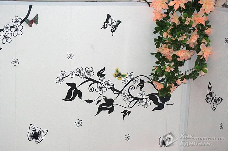 Бабочки в оформлении стены