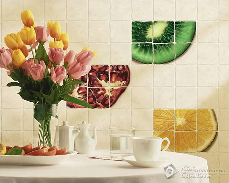 Декор стены на кухне из плитки