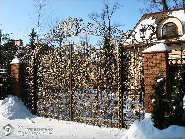 Кованые ворота, забор и калитка