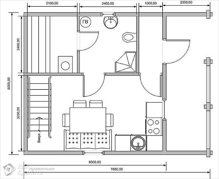 Проект планировки первого этажа двухэтажной бани из бруса