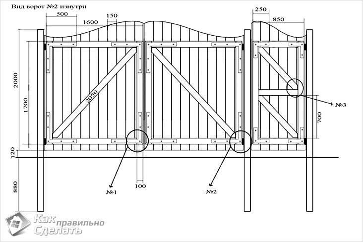 Чертеж деревянных ворот