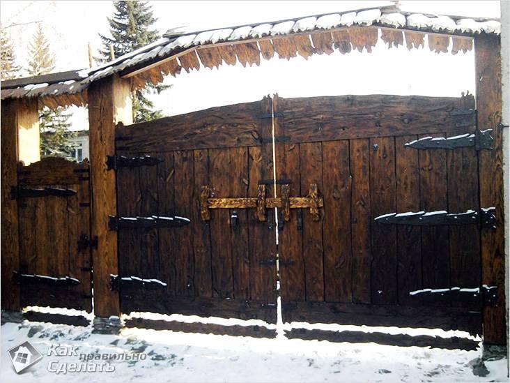Ворота и калитка выполненные из дерева