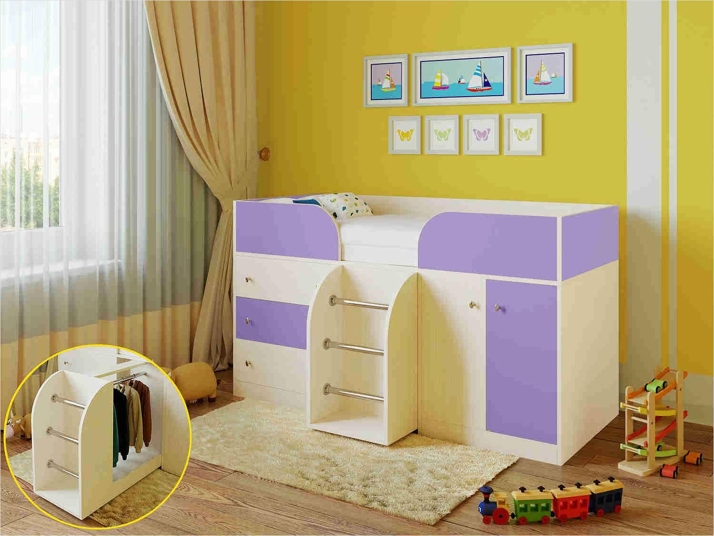 Кровать со встроенным шкафчиком и выдвижным модулем