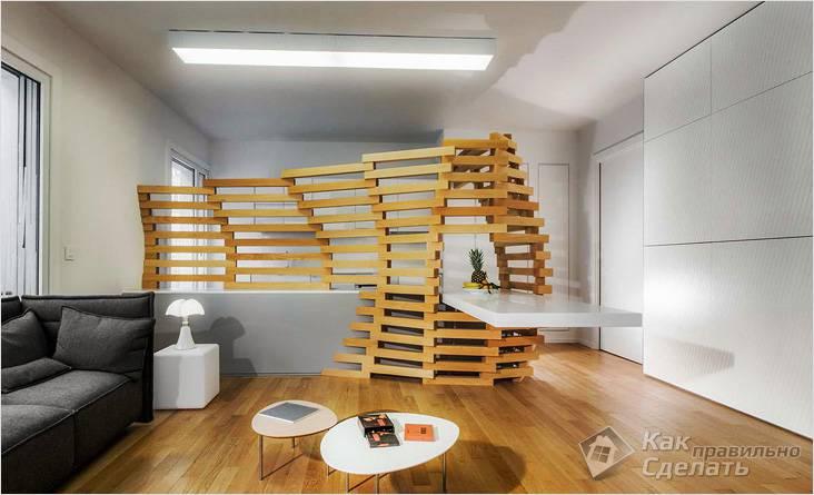 Деревянная перегородка — дизайнерское решение