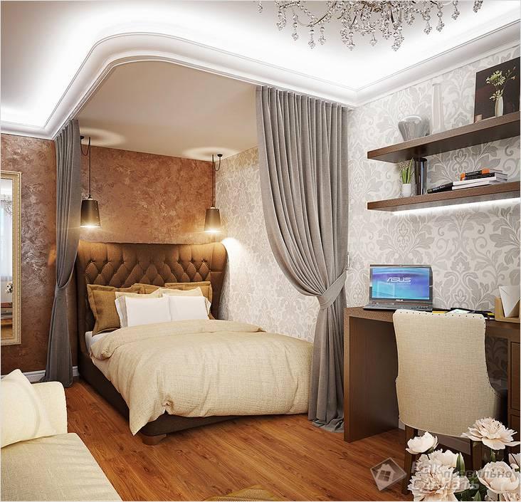 Занавески скрывают спальное место