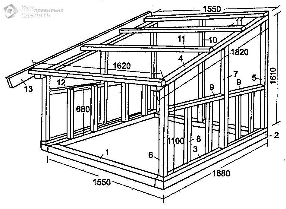 Чертеж хозблока с односкатной крышей