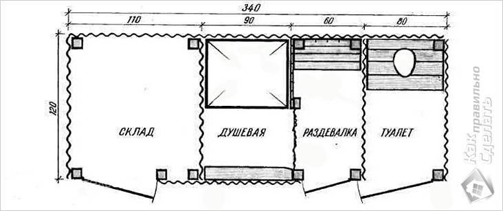 Чертеж конструкции с душем и туалетом