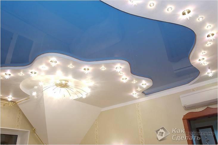 Комбинация натяжного и гипсокартоного потолков