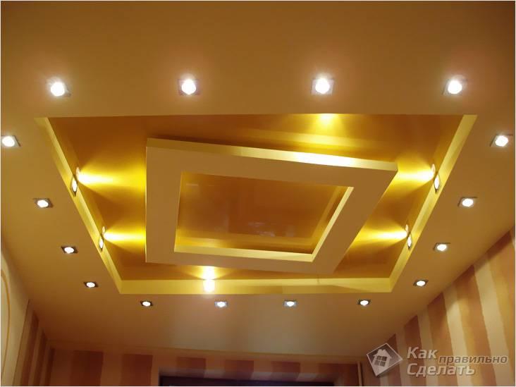 Комбинированный из гипсокартона с подсветкой