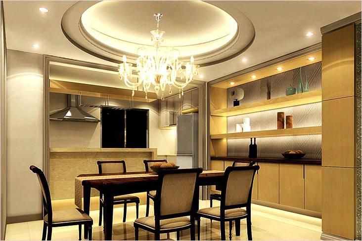 Потолок с подсветкой рабочей и обеденной зон