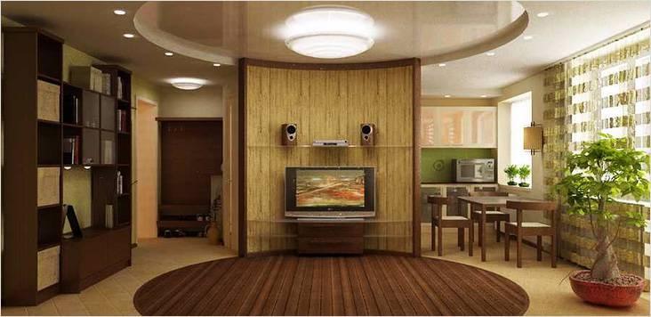 Вид из гостиной. Квартира интересна дизайном — обыгрывается круг. Можно наблюдать проекцию круга на полу и потолке.