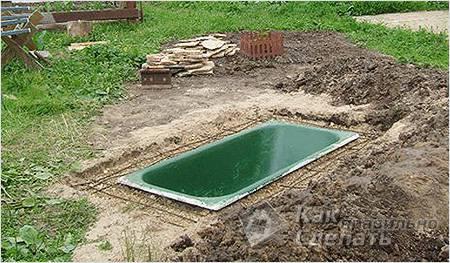 Монтаж ванны-пруда