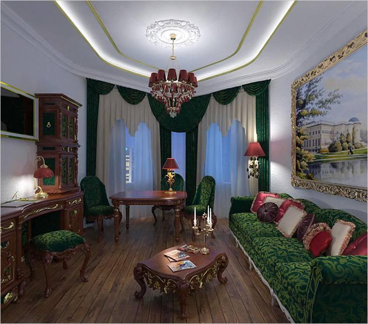 Гостиная 20 кв.м в зеленых тонах