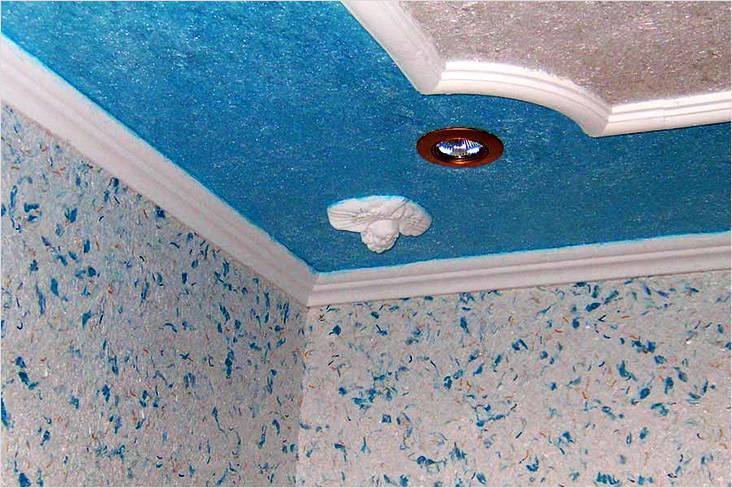 Отделка стен и потолка жидкими обоями