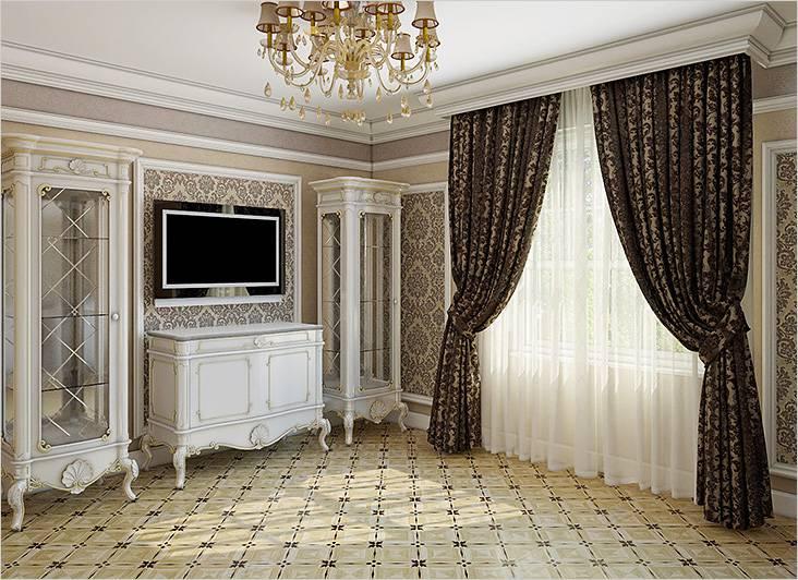 Такие шторы хорошо сочетаются с мебелью под старину