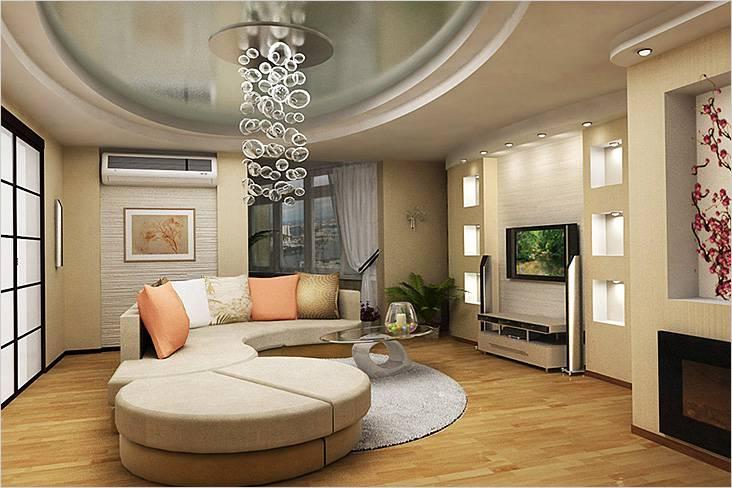 В этой гостиной мебель расположена в центре