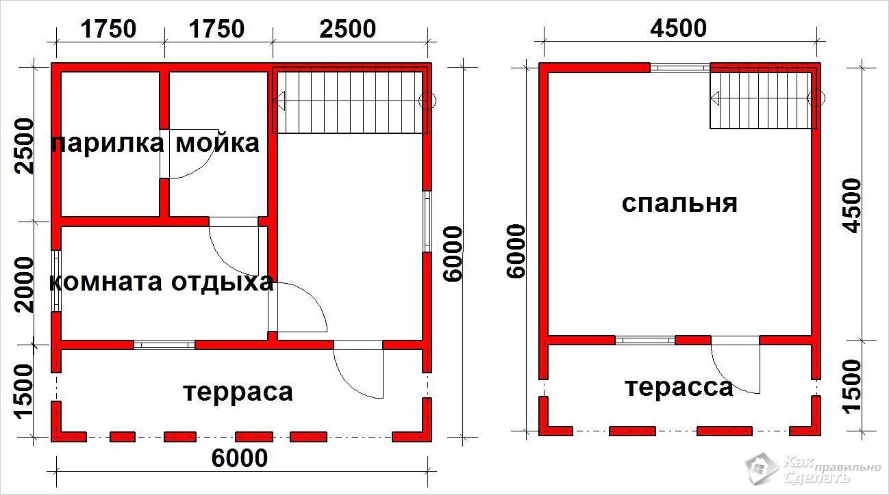 Вариант двухэтажной бани из бруса