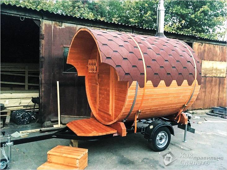 Баня-бочка на колесах
