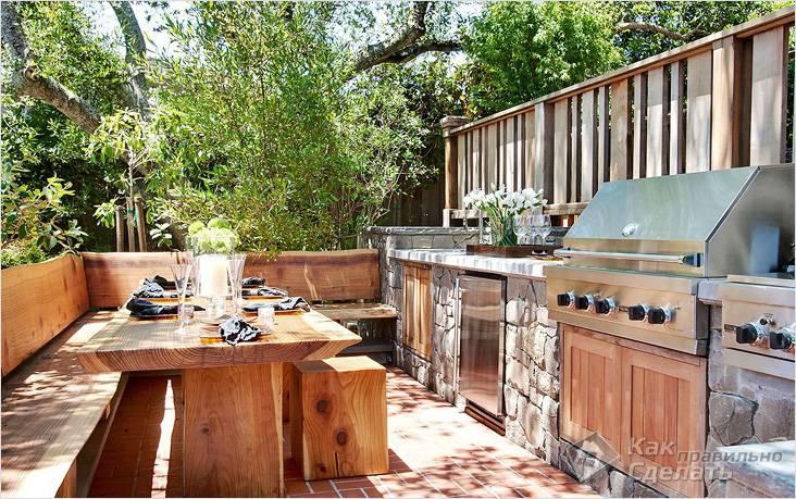 Летняя кухня без крыши