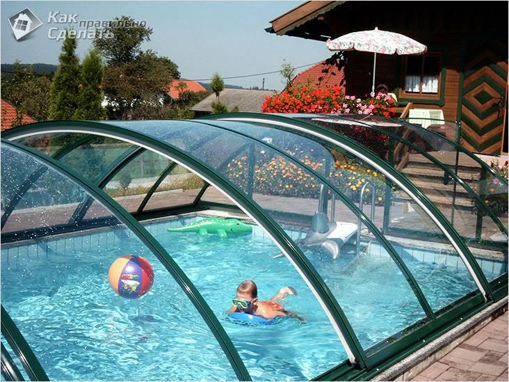 Раздвижной навес над бассейном