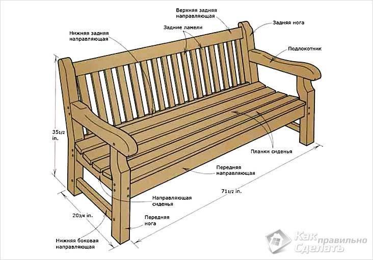 Садовая скамейка со спинкой из дерева