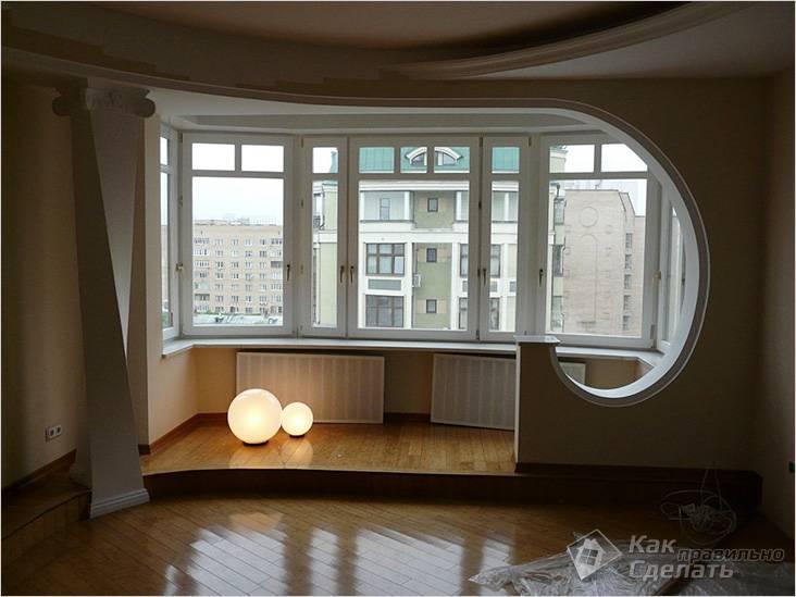 Балкон объединен с гостиной