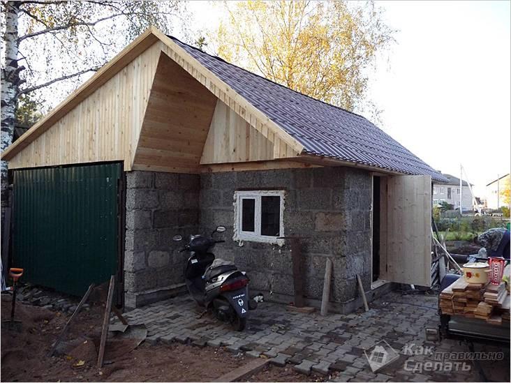 Баня с гаражом под одной крышей