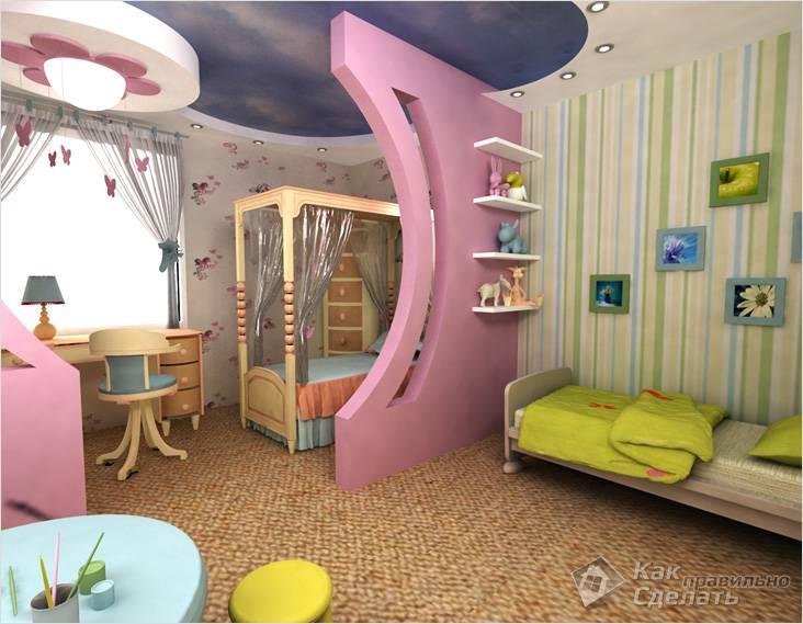Гипсокартонная декоративная перегородка в детской