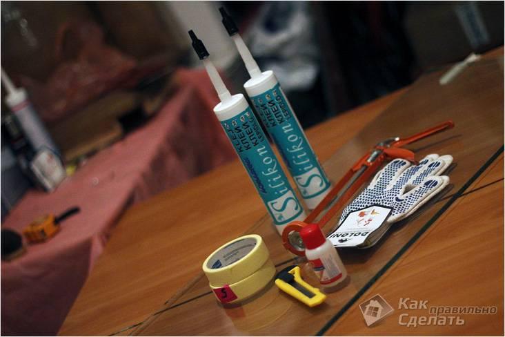 Инструмент и материалы для сборки аквариума