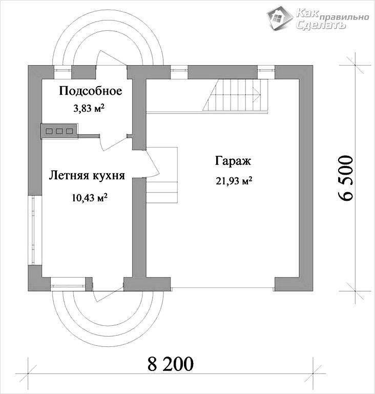 Схема летней кухни с гаражом