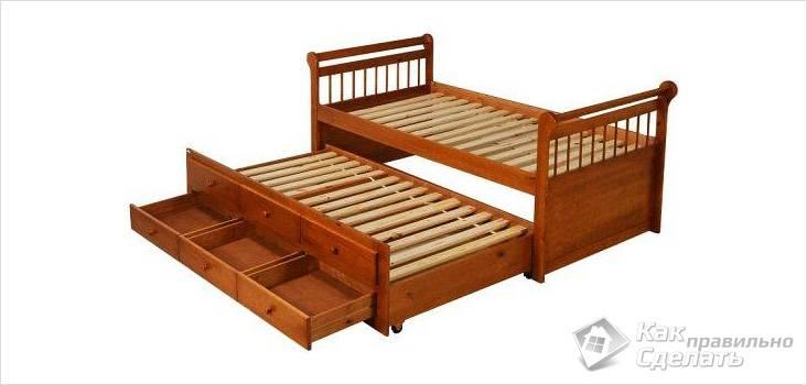Детская выдвижная кровать с ящиками