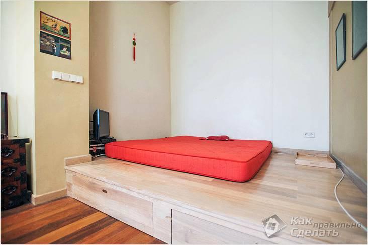 Кровать и выдвижные ящики