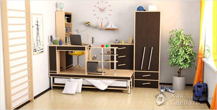 Мебель в детскую комнату с выдвижной кроватью