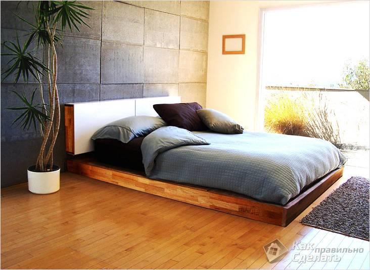 Подиум для кровати, отделанный ламинатом