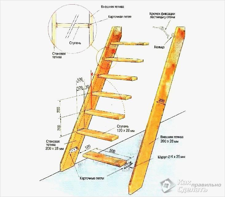 Схема откидной лестницы