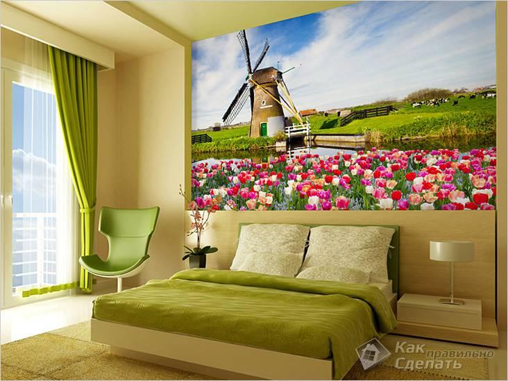 Фотообои с мельницей в спальне (кантри)