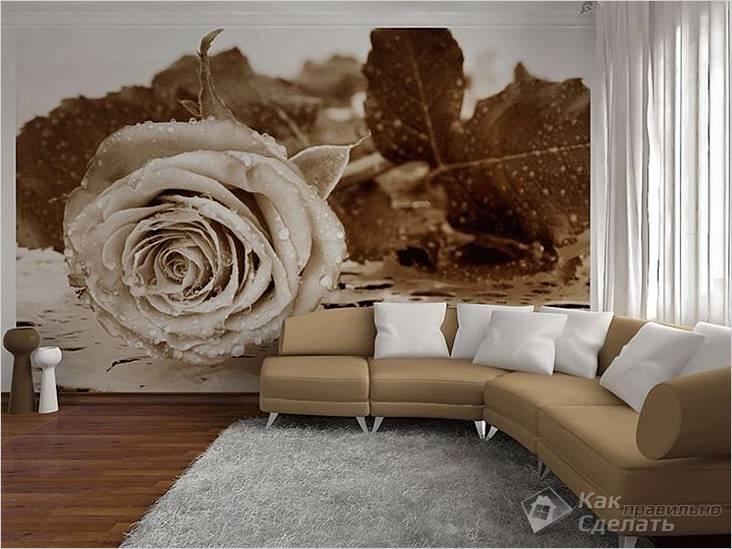 Фотообои с изображением розы, интерьер гостиной