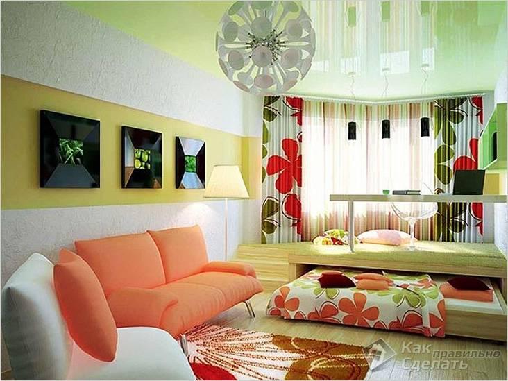 Подиум-кровать в гостиной