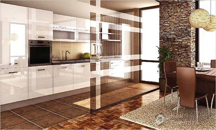 Зонирование гостиной с кухней