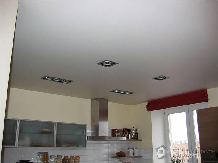 На кухне натяжные потолки
