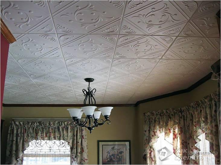 Потолок из пенополистирольных плит