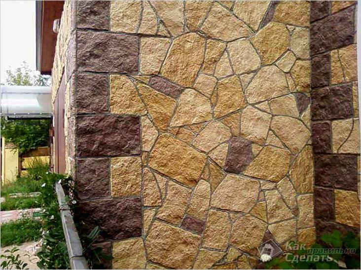 Отделка арболитовых стен камнем