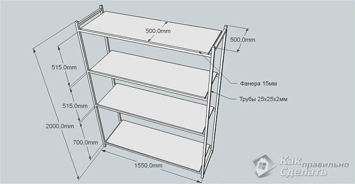 Схема простого стеллажа