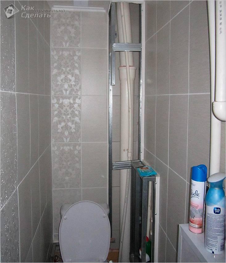 Короб в ванной из панелей