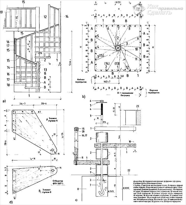 Схема деревянной лестницы