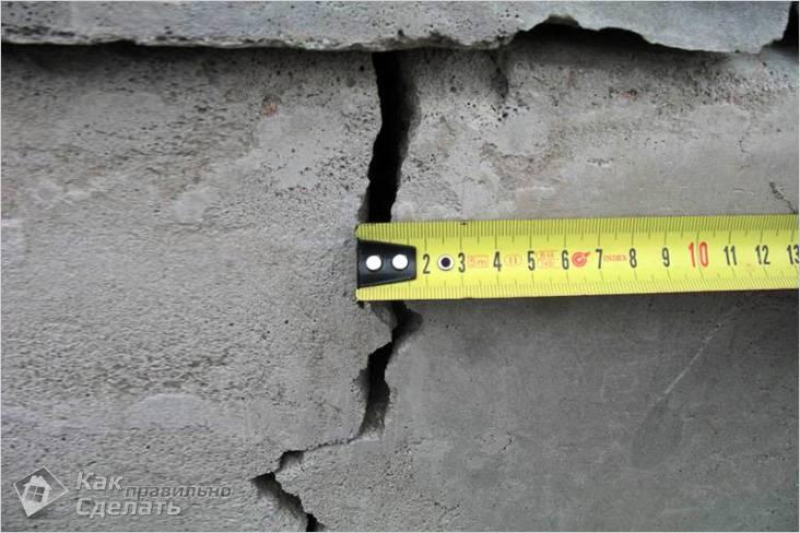 Трещина в стене из-за ненадежного фундамента
