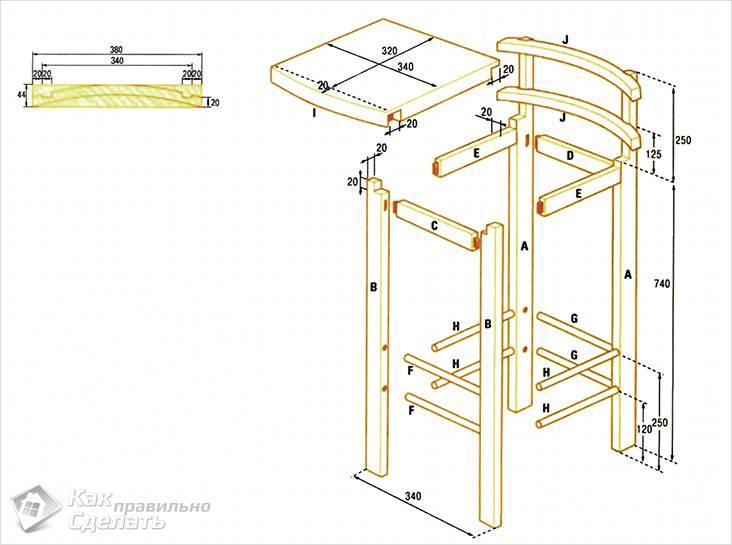 Чертеж барного стула со спинкой