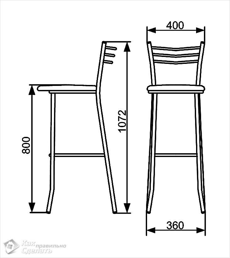 Схема барного стула с размерами