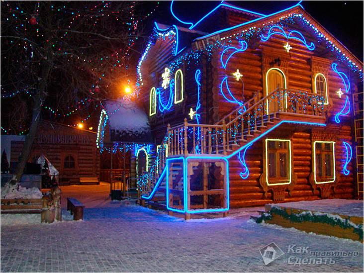 Подсветка фасада дома светодиодными лентами