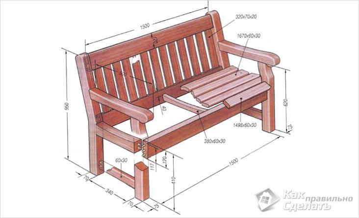 Схема деревянной скамейки для бани